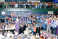 """Campaign volunteers hold up large letters spelling """"Hillary"""" former Secretary of State and Democratic presidential candidate Hillary Rodham Clinton speaks at a rally at Nashua Community College in Nashua, New Hampshire, on Tues. Feb. 2, 2016. Former president Bill Clinton also spoke at the event. The day before, Hillary Clinton won the Iowa caucus by a small margin over Bernie Sanders."""