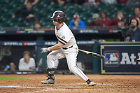 Tanner Allen (5) of the Mississippi State Bulldogs follows through on his swing against the Houston Cougars in game six of the 2018 Shriners Hospitals for Children College Classic at Minute Maid Park on March 3, 2018 in Houston, Texas. The Bulldogs defeated the Cougars 3-2 in 12 innings. (Brian Westerholt/Four Seam Images)