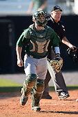 Siena Saints catcher Dave Hoffmann (25) during a game against the Central Florida Knights at Jay Bergman Field on February 16, 2014 in Orlando, Florida.  UCF defeated Siena 9-6.  (Copyright Mike Janes Photography)