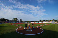 General view of the national anthem before an Auburn Doubledays game against the State College Spikes on July 6, 2015 at Falcon Park in Auburn, New York.  State College defeated Auburn 9-7.  (Mike Janes/Four Seam Images)