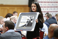 Sports memorabilia during the Pcubed Rugby League Varsity game between Oxford and Cambridge University at the HAC Ground, London, on Fri March 3, 2017