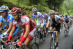 The peloton including British Champion Geraint Thomas (WAL) Sky Pro Cycling approach the summit of the Cat 1 climb at Col du Marie Blanque during a wet foggy Stage 17 of the 2010 Tour de Franc running 174km from Pau to Col du Tourmalet, France. 22nd July 2010.<br /> (Photo by Eoin Clarke/NEWSFILE).<br /> All photos usage must carry mandatory copyright credit (© NEWSFILE | Eoin Clarke)