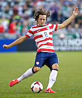 PORTLAND, Ore. - July 9, 2013: Mix Diskerud passes the ball in the first half. The US Men's National team plays the National team of Belize during the 2013 Gold Cup at at JELD-WEN Field.