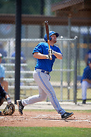 Toronto Blue Jays first baseman David Jacob (33) follows through on a swing during a minor league Spring Training game against the New York Yankees on March 30, 2017 at the Englebert Complex in Dunedin, Florida.  (Mike Janes/Four Seam Images)