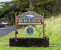 """Welcome to Koloa"" town sign, Kaua'i."