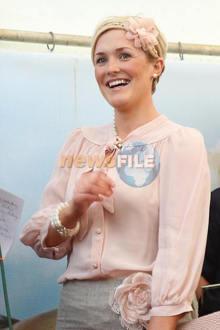 Best Dressed Lady Winner Winner Wendy McKay Wogan from Drogheda at the Bellewstown Races...Picture Jenny Matthews/Newsfile.ie