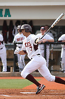 Gabe Ortiz #7 of the Virginia Tech Hokies at bat during a game against the University of Indiana Hoosiers at Watson Stadium at Vrooman Field in Conway, South Carolina on February 18, 2011. Photo by Robert Gurganus/Four Seam Images