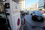 Lebanese wait in front of gas station in Beirut, Lebanon, on April 13, 2021 to fill thier cars within gasoline. Gas stations have completely closed in Beirut and its suburbs due to a gasoline shortage. Photo by Haitham Moussawi