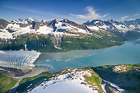 Aerial of Harriman glacier, Harriman Fjord, Prince William Sound, Alaska