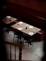 Set tables at a restaurant of the Grand Place, Brussels, Belgium