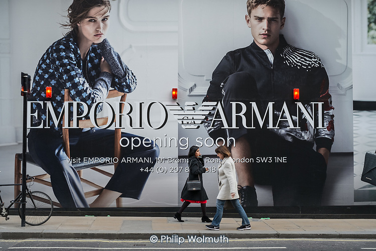 Hoarding outside a new Emporio Armani store in New Bond Street, London.