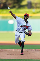 Indianapolis Indians starting pitcher Dario Agrazal (22) during an International League game against the Columbus Clippers on April 29, 2019 at Victory Field in Indianapolis, Indiana. Indianapolis defeated Columbus 5-3. (Zachary Lucy/Four Seam Images)