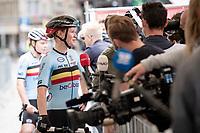Jolien d'Hoore (BEL/SD Worx) interviewed at the race start in Antwerpen<br /> <br /> Women Elite - Road Race (WC)<br /> from Antwerp to Leuven (158km)<br /> <br /> UCI Road World Championships - Flanders Belgium 2021<br /> <br /> ©kramon