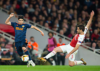 Valencia Carlos Soler and Arsenal's Sokratis Papastathopoulos during the UEFA Europa League Semi-Final 1st leg match between Arsenal and Valencia at the Emirates Stadium, London, England on 2 May 2019. Photo by Andrew Aleksiejczuk / PRiME Media Images.