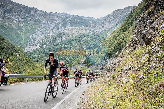 The peloton with Dylan van Baarle (NED) Ineos Grenadiers during Stage 17 of La Vuelta d'Espana 2021, running 185.8km from Unquera to Lagos de Covadonga, Spain. 1st September 2021.     <br /> Picture: Unipublic/Charly Lopez | Cyclefile<br /> <br /> All photos usage must carry mandatory copyright credit (© Cyclefile | Charly Lopez/Unipublic)