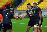 Maori's Shaun Stevenson celebrates his second try during the international rugby match between Manu Samoa and the Maori All Blacks at Sky Stadium in Wellington, New Zealand on Saturday, 26 June 2021. Photo: Dave Lintott / lintottphoto.co.nz