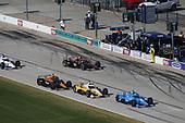 #10: Alex Palou, Chip Ganassi Racing Honda, #2: Josef Newgarden, Team Penske Chevrolet, #5: Pato O'Ward, Arrow McLaren SP Chevrolet, #12: Will Power, Team Penske Chevrolet, pit stop
