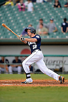 New Orleans Zephyrs shortstop Matt Downs #12 hits a home run during a game against the Round Rock Express on April 15, 2013 at Zephyr Field in New Orleans, Louisiana.  New Orleans defeated Round Rock 3-2.  (Mike Janes/Four Seam Images)