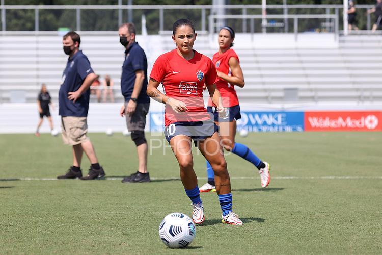 CARY, NC - SEPTEMBER 12: Debinha #10 of the North Carolina Courage warms up before a game between Portland Thorns FC and North Carolina Courage at Sahlen's Stadium at WakeMed Soccer Park on September 12, 2021 in Cary, North Carolina.