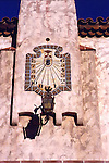 Scotty's Castle<br />Death Valley California<br />A tiled sundial of obvious European origin counts the daylight hours at Scotty's Castle; a handsome lantern of patinated iron hangs beneath it.  While American architects of the Twenties frequently maintained comprehensive libraries of European details and took pride in reproducing them accurately, only an architect thoroughly versed in European craft techniques could produce details of this caliber.