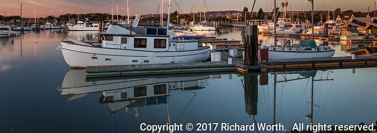 Boats moored at the San Leandro Marina along San Francisco Bay, lit by evening sunset light and reflecting in the still waters.
