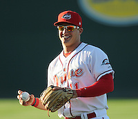 Infielder Nick Moore (11) of the Greenville Drive prior to a game against the Charleston RiverDogs on Opening Day, Friday, April 5, 2013, at Fluor Field at the West End in Greenville, South Carolina. (Tom Priddy/Four Seam Images)