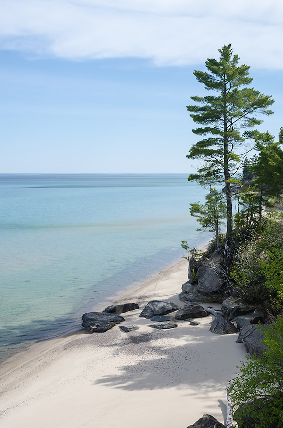 A secluded sandy beach at Pictured Rocks National Lakeshore. Munising, MI