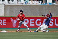 Springfield Cardinals shortstop Kramer Robertson (3) looks to throw to first as Tony Sanchez (55) slides into second base during a Texas League game against the Frisco RoughRiders on May 5, 2019 at Dr Pepper Ballpark in Frisco, Texas.  (Mike Augustin/Four Seam Images)