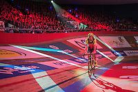 Filippo 'Pipo' Pozzato (ITA/Wilier Triestina–Southeast) during his introduction lap on the velodrome during 'Ciao Fabian'; a farewell event in 't Kuipke in Gent/Belgium for Fabian Cancellara after his retiring from pro racing (november 2016)