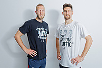 """Pictured: Mike van der Hoorn and team mate Federico Fernandez wearing two of the t-shirts. Tuesday 27 March 2018<br /> Re: New Swansea City FC t-shirts with messages like """"All The Meat on the Barbecue"""" and 4pm London Traffic"""" at the Fairwood Training Ground near Swansea, Wales, UK"""