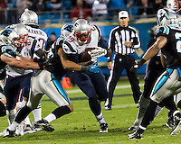 The Carolina Panthers play the New England Patriots at Bank of America Stadium in Charlotte North Carolina on Monday Night Football.  The Panthers defeated the Patriots 24-20.  New England Patriots running back LeGarrette Blount (29), Carolina Panthers defensive end Wes Horton (96)