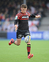 20130512 Copyright onEdition 2013©.Free for editorial use image, please credit: onEdition..Owen Farrell of Saracens kicks into the corner during the Premiership Rugby semi final match between Saracens and Northampton Saints at Allianz Park on Sunday 12th May 2013 (Photo by Rob Munro)..For press contacts contact: Sam Feasey at brandRapport on M: +44 (0)7717 757114 E: SFeasey@brand-rapport.com..If you require a higher resolution image or you have any other onEdition photographic enquiries, please contact onEdition on 0845 900 2 900 or email info@onEdition.com.This image is copyright onEdition 2013©..This image has been supplied by onEdition and must be credited onEdition. The author is asserting his full Moral rights in relation to the publication of this image. Rights for onward transmission of any image or file is not granted or implied. Changing or deleting Copyright information is illegal as specified in the Copyright, Design and Patents Act 1988. If you are in any way unsure of your right to publish this image please contact onEdition on 0845 900 2 900 or email info@onEdition.com
