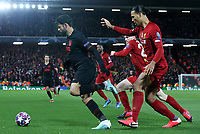 Atletico Madrid's Diego Costa under pressure from Liverpool's Andrew Robertson and Virgil van Dijk (right) <br /> <br /> Photographer Rich Linley/CameraSport<br /> <br /> UEFA Champions League Round of 16 Second Leg - Liverpool v Atletico Madrid - Wednesday 11th March 2020 - Anfield - Liverpool<br />  <br /> World Copyright © 2020 CameraSport. All rights reserved. 43 Linden Ave. Countesthorpe. Leicester. England. LE8 5PG - Tel: +44 (0) 116 277 4147 - admin@camerasport.com - www.camerasport.com