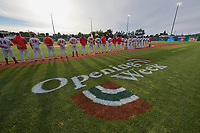 Auburn Doubledays line up for the national anthem before a NY-Penn League game against the Batavia Muckdogs on June 14, 2019 at Dwyer Stadium in Batavia, New York.  Batavia defeated 2-0.  (Mike Janes/Four Seam Images)