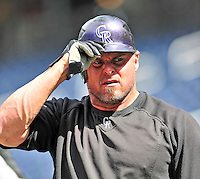 22 April 2010: Colorado Rockies' first baseman Jason Giambi awaits his turn in the batting cage prior to a game against the Washington Nationals at Nationals Park in Washington, DC. The Rockies shut out the Nationals 2-0 gaining a 2-2 series split. Mandatory Credit: Ed Wolfstein Photo