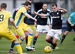 Dundee v St Johnstone….31.12.16     Dens Park    SPFL<br />Blair Alston battles with Paul McGowan<br />Picture by Graeme Hart.<br />Copyright Perthshire Picture Agency<br />Tel: 01738 623350  Mobile: 07990 594431