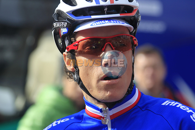 French National Champion Sylvain Chavanel (FRA) Omega Pharma-Quick Step at sign on before the start of the 98th edition of Liege-Bastogne-Liege outside the Palais des Princes-Eveques, running 257.5km from Liege to Ans, Belgium. 22nd April 2012.  <br /> (Photo by Eoin Clarke/NEWSFILE).