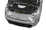 Car Stock 2017 Fiat 500e Battery-Electric 5 Door Hatchback Engine  high angle detail view