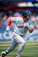 Portland Sea Dogs catcher Austin Rei (28) runs to first base during the first game of a doubleheader against the Reading Fightin Phils on May 15, 2018 at FirstEnergy Stadium in Reading, Pennsylvania.  Portland defeated Reading 8-4.  (Mike Janes/Four Seam Images)