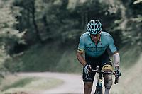 Alexey Lutsenko (KAZ/Astana) up the Mur de Péguère (Cat1/1375m/9.3km/7.9%)<br /> <br /> 104th Tour de France 2017<br /> Stage 13 - Saint-Girons › Foix (100km)