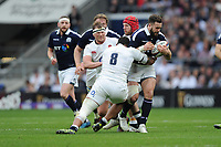 Alex Dunbar of Scotland is tackled by Nathan Hughes of England during the RBS 6 Nations match between England and Scotland at Twickenham Stadium on Saturday 11th March 2017 (Photo by Rob Munro/Stewart Communications)