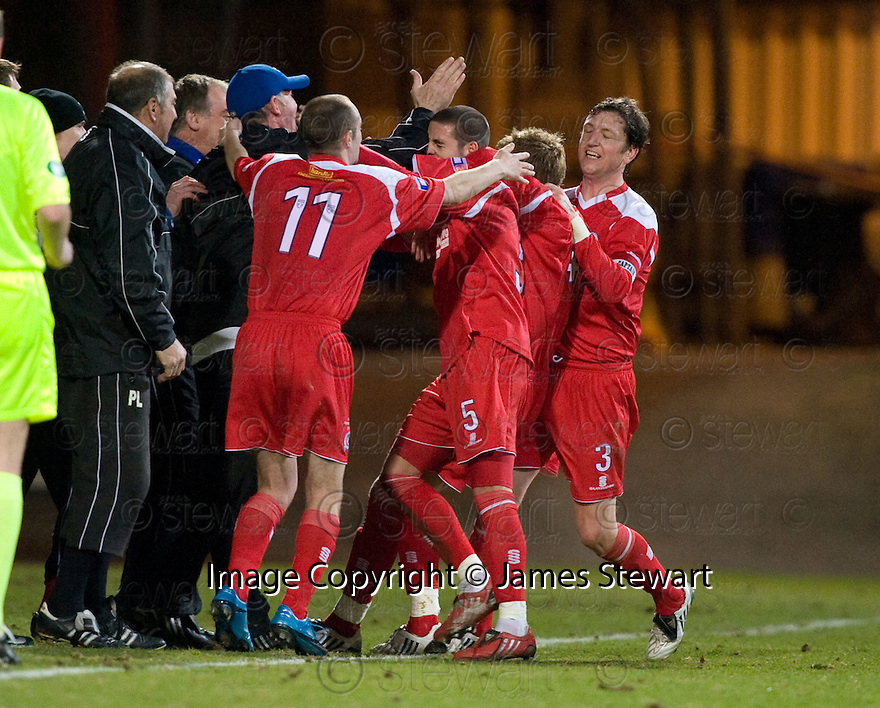 23/03/2010 Copyright  Pic : James Stewart.sct_jspa12_dundee_v_qots  .::  BOB HARRIS CELEBRATES WITH NEW BOSS KENNY BRANNIGAN AFTER HE SCORES THE EQUALISER  ::  .James Stewart Photography 19 Carronlea Drive, Falkirk. FK2 8DN      Vat Reg No. 607 6932 25.Telephone      : +44 (0)1324 570291 .Mobile              : +44 (0)7721 416997.E-mail  :  jim@jspa.co.uk.If you require further information then contact Jim Stewart on any of the numbers above.........