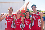 Wales Triathlon Mixed Relay team (L-R Iesty Harrett, Non Stanford, Olivia Mathias and Christopher Silver)<br /> <br /> *This image must be credited to Ian Cook Sportingwales and can only be used in conjunction with this event only*<br /> <br /> 21st Commonwealth Games - Triathlon Mixed Relay  -  Day 3 - 07/04/2018 - Southport Boardwater Parklands - Gold Coast City - Australia