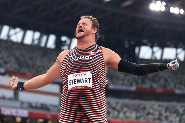 TOKYO, JAPAN - SEPTEMBER 01: Greg Stewart of Team Canada celebrates winning the gold mea in the Men's Shot PUt - F46 Final on day 8 of the Tokyo 2020 Paralympic Games at Olympic Stadium on September 01, 2021 in Tokyo, Japan. (Photo by Carmen Mandato/Getty Images)