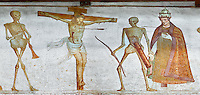 "Crucifiction fresco on the Church of San Vigilio in Pinzolo, part of its mural painting ""the Dance of Death"" painted by Simone Baschenis of Averaria in1539, Pinzolo, Trentino, Italy.<br />