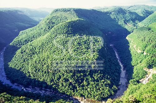 Serra do Caracol, Rio Grande do Sul, Brazil. Spectacular view of the canyon with a river.