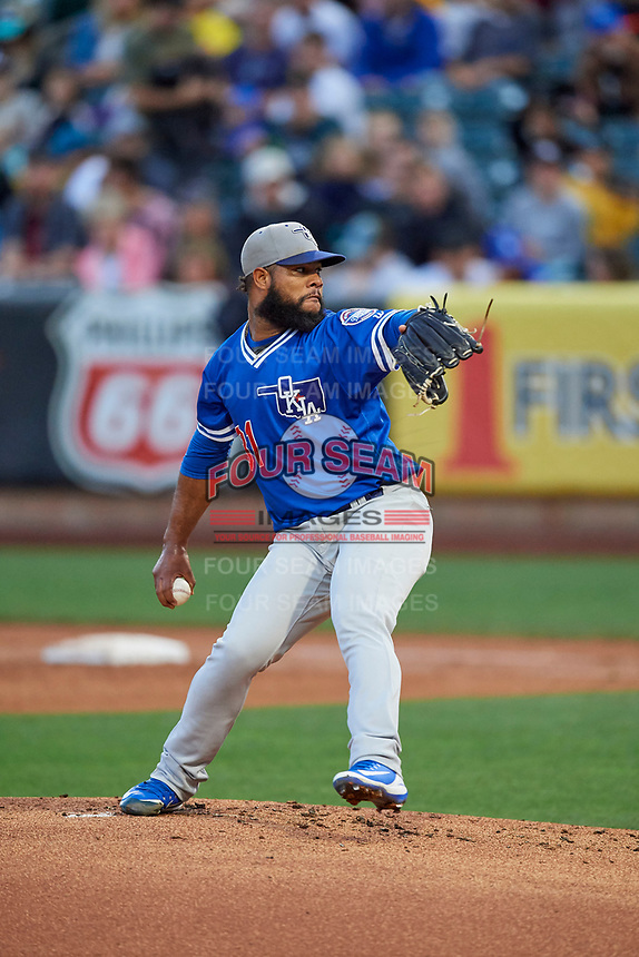 Oklahoma City Dodgers starting pitcher Daniel Corcino (31) throws to the plate during the game against the Salt Lake Bees at Smith's Ballpark on July 31, 2019 in Salt Lake City, Utah. The Dodgers defeated the Bees 5-3. (Stephen Smith/Four Seam Images)
