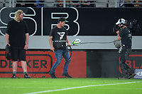 A Sky camera crew film the ball landing in touch during the Super Rugby match between the Blues and Highlanders at Eden Park in Auckland, New Zealand on Saturday, 11 March 2017. Photo: Dave Lintott / lintottphoto.co.nz