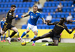 St Johnstone v Motherwell…08.08.21  McDiarmid Park<br />Stevie May is tackled by Bevis Mugabi<br />Picture by Graeme Hart.<br />Copyright Perthshire Picture Agency<br />Tel: 01738 623350  Mobile: 07990 594431