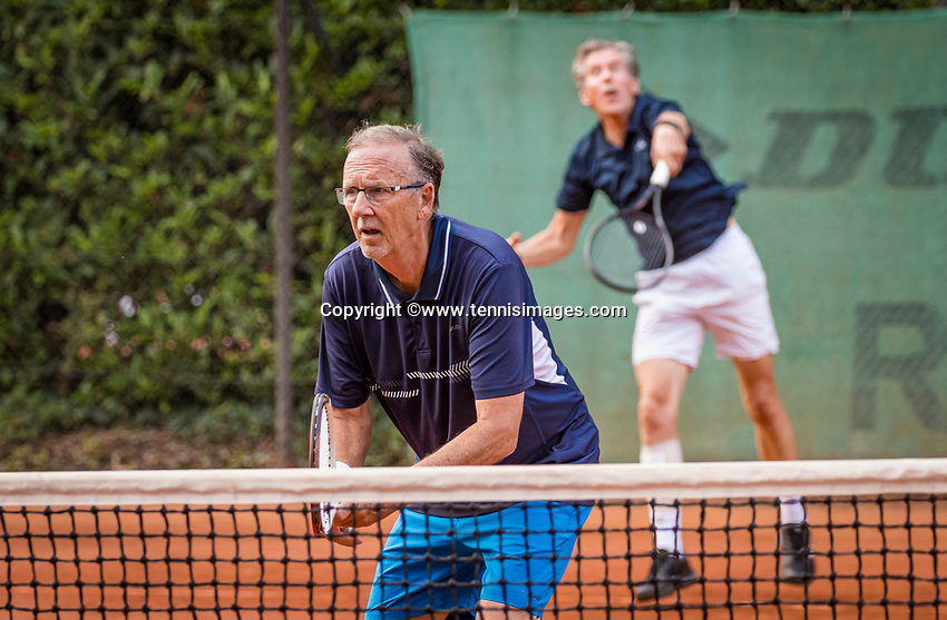 Hilversum, The Netherlands,  August 20, 2021,  Tulip Tennis Center, NKS, National Senior Tennis Championships, Men's double 75+, Bill Floor and Jan van Winsen (NED)<br /> Photo: Tennisimages/Henk Koster